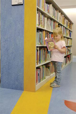 Cantilever Library Shelving with Custom End Panel Design Static Shelving Cantilever Library Shelving Cantilever Shelving System Education Library Book Cases Library Book Shelving Akron, OH Children's Book Storage Designer End Panels Alternative Materials