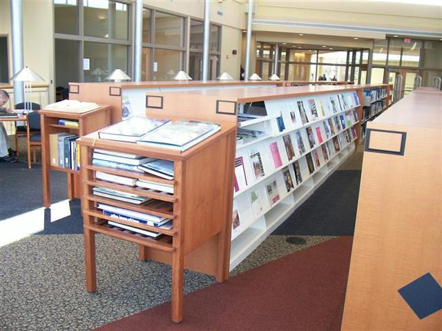 Static Cantilever Shelving with Periodical Displays and Designer Wood Casing Magazine Display Rack Wood-Cased Shelving Counter-Height Shelving Static Shelving Cantilever Library Shelving Cantilever Shelves Education Library Display Shelves Library Storage Designer End Panels Alternative Materials