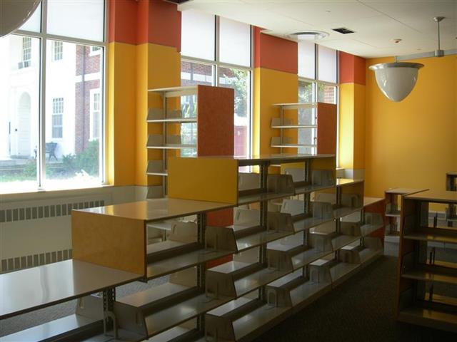 Static Cantilever Shelving in Children's Library, before being loaded with books Designer End Panels Alternative Materials Children's Library Static Shelving Cantilever Library Shelving Education Library Racks Library Shelving