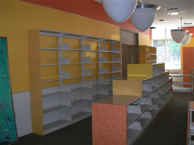 Cantilever Shelving in Children's Library Designed to compliment the environment : Before Loaded with Children Books Designer End Panels Alternative Materials Designed For Facility Children's Library Static Shelving Cantilever Library Shelving Education Library Shelving Library Storage