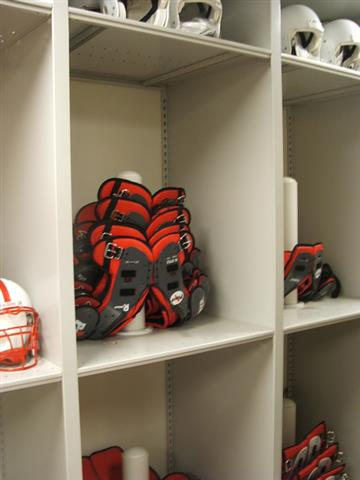 Shoulder Pad Storage for University of Nebraska Mobile Shelving Mobile Storage Racks Education Athletic Equipment Storage Athletic Storage Football Equipment Storage Shoulder Pads Stack Tree Collegiate University Of Nebraska