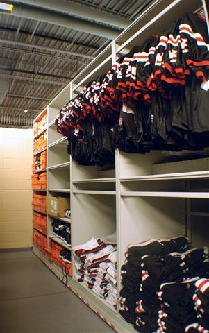 Football Jersey Storage on Shelving Mobile Shelving Mobile Shelving Units Mobile Storage Shelving Education Athletic Equipment Storage Football Equipment Storage Winston Churchill Jersey Storage K12 Athletic Equipment Storage High School Athletic Equipment Storage