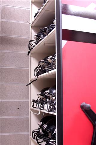 Helmet Storage on Mobile Shelving at Fort Atkinson High School Mobile Shelving Mobile Storage System Mobile Storage Shelving Education Athletic Equipment Storage Athletic Storage Football Equipment Storage 4post Shelving Fort Atkinson, WI K12 Athletic Equipment Storage High School Athletic Equipment Storage