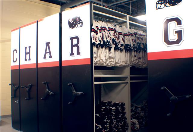 Uniform Storage at Winston Churchill High School Mobile Storage Education Athletic Storage Winston Churchill Uniform Storage Football Storage Football Equipment Storage Jersey Storage K12 Athletic Equipment Storage