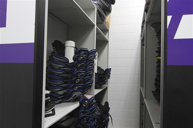 Football Shoulder Pad Storage on Compact Shelving Mobile Shelving High Density Mobile Filing Compact Storage Systems Rolling Rack Education Athletic Equipment Storage Athletic Storage Football Equipment Storage University Of Wisconsin Whitewater Whitewater, WI UW Whitewater Warhawks