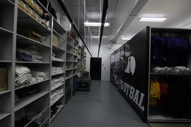 Football Equipment Storage Room at UW Whitewater Mobile Shelving Mobile Storage Systems High Density Storage System Static Shelving Shelving Box Shelving Education Athletic Storage Football Equipment Storage University Of Wisconsin Whitewater Whitewater, WI UW Whitewater Warhawks