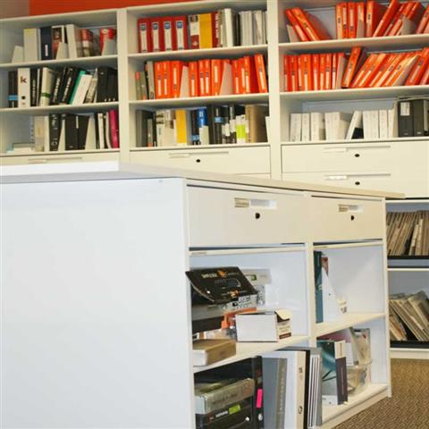 Metal Storage and Shleving for Samples Static Shelving Metal Shelving Lateral Filing Systems Shelving Business Lateral Filing Cabinets Office Storage Shelving Office Storage Solutions Architectural Resource Library Storage Straticom Planning Associates Toronto, Canada