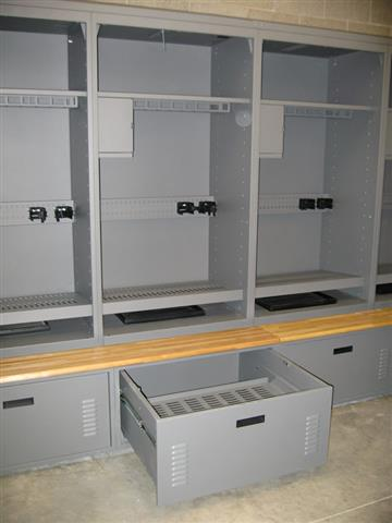 Freestyle Lockers - Carbondale Police Department Lockers Equipment Locker Storage Locker Public Safety Personal Locker Drawers Bench Seats Police Lockers